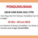 Pengumuman Libur Hari Raya Idul Fitri Tahun 2019